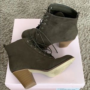 Just Fab olive green booties